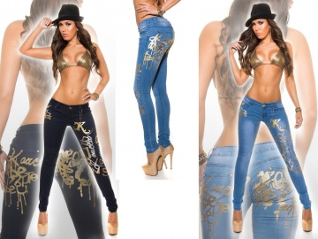 JEANS DONNA STAMPA ORO K401