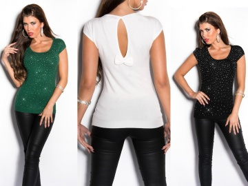 T-SHIRT DONNA CON STRASS K035